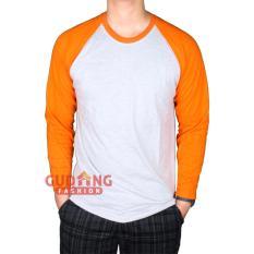Toko Gudang Fashion Kaos Raglan Lengan Panjang Putih Misty Orange Lengkap Banten