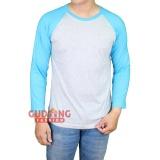 Beli Gudang Fashion Kaos Raglan Polos Panjang Putih Misty Biru Bubble Online Banten