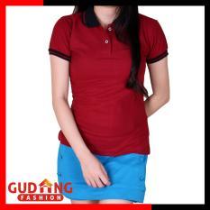 Gudang Fashion - Kaos Wanita Berkerah - Merah Maroon Kerah Hitam