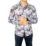Beli Gudang Fashion Kemeja Batik Formal Pria Putih Biru Cicilan