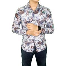 Jual Gudang Fashion Kemeja Batik Formal Pria Putih Biru Online Banten
