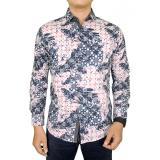 Beli Gudang Fashion Kemeja Batik Pria Lengan Panjang Eksklusif Biru Krem Cicil