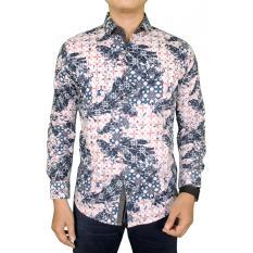 Beli Gudang Fashion Kemeja Batik Pria Lengan Panjang Eksklusif Biru Krem