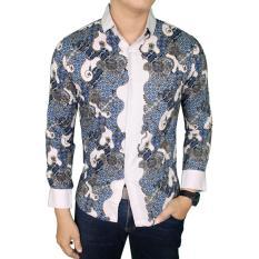 Spesifikasi Gudang Fashion Kemeja Batik Pria Lengan Panjang Eksklusif Biru Tua Murah