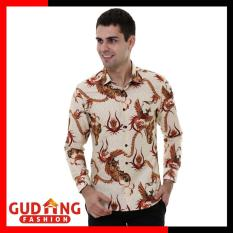 Gudang Fashion - Kemeja Batik Pria Lengan Panjang Slim Fit - Krem