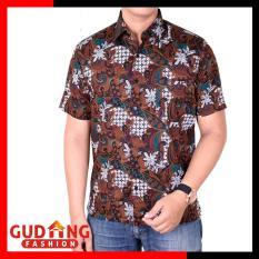 Jual Gudang Fashion Kemeja Batik Pria Modern Coklat Lengkap
