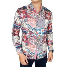 Promo Gudang Fashion Kemeja Batik Pria Modern Merah Muda