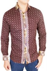 Gudang Fashion - Kemeja Batik Pria Panjang Slim Fit - Coklat Tua