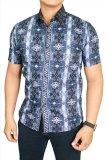 Harga Gudang Fashion Kemeja Batik Pria Slimfit Pendek Biru Tua Terbaru