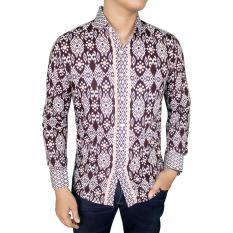 Harga Gudang Fashion Kemeja Batik Slim Fit Panjang Abu Original