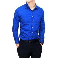 Jual Gudang Fashion Kemeja Formal Pria Panjang Polos Slim Biru Gudang Fashion