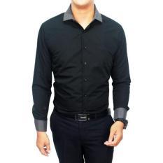 Gudang Fashion Kemeja Kantoran Pria Keren Slimfit Hitam Terbaru