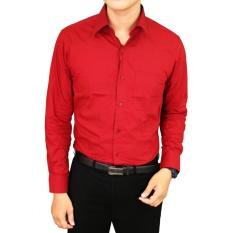 Top 10 Gudang Fashion Kemeja Kerja Lengan Panjang Pria Regular Fit Merah Marun Online