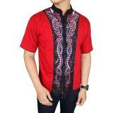 Jual Gudang Fashion Kemeja Koko Lengan Pendek Merah Ori