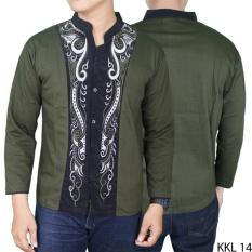 Gudang Fashion Kemeja Koko Modern Panjang Hijau Lumut Di Banten
