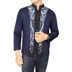 Gudang Fashion - Kemeja Koko Tangan Panjang Pria - Biru Dongker