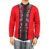 Beli Gudang Fashion Kemeja Lebaran Pria Muslim Merah Cicil