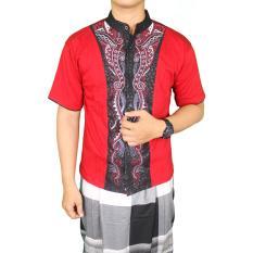 Beli Gudang Fashion Kemeja Lengan Pendek Koko Pria Merah Nyicil