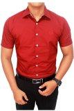 Toko Gudang Fashion Kemeja Lengan Pendek Pria Merah Maroon Murah Banten