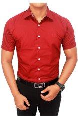 Harga Gudang Fashion Kemeja Lengan Pendek Pria Merah Maroon Baru