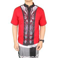 Jual Beli Online Gudang Fashion Kemeja Muslim Pria Modern Terbaru Merah