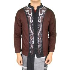 Harga Gudang Fashion Kemeja Muslim Pria Panjang Coklat Online Banten