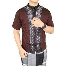 Gudang Fashion - Kemeja Pendek Muslimin Pria Trendy - Coklat