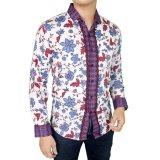 Beli Gudang Fashion Kemeja Pria Batik Slim Fit Putih Kredit