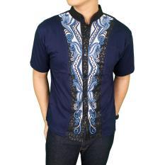 Harga Gudang Fashion Kemeja Pria Muslim Terbaru Biru Dongker Online Banten