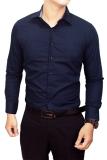 Harga Gudang Fashion Kemeja Pria Polos Slim Fit Panjang Navy Baru Murah