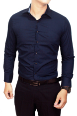 Review Gudang Fashion Kemeja Pria Polos Slim Fit Panjang Navy Gudang Fashion