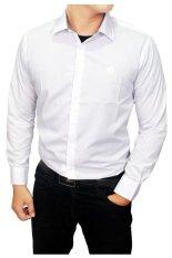 Gudang Fashion Kemeja Pria Putih Polos Slim Fit Putih Asli