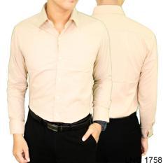 Promo Gudang Fashion Kemeja Pria Regular Fit Simple Formal Krem Banten