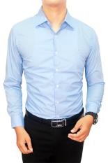 Jual Gudang Fashion Kemeja Pria Slim Fit Biru Langit Murah
