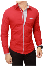 Jual Gudang Fashion Kemeja Slim Fit Korean Style Merah Ori