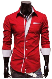 Beli Gudang Fashion Kemeja Slim Fit Korean Style Merah Online Murah
