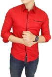 Jual Gudang Fashion Kemeja Slim Fit Korean Style Merah Gudang Fashion