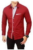 Review Toko Gudang Fashion Kemeja Slim Fit Korean Style Merah Marun