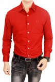 Diskon Gudang Fashion Kemeja Slim Fit Merah Akhir Tahun