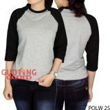 Beli Gudang Fashion Pakaian Baju Polos Raglan Wanita Abu Kombinasi Hitam Online Terpercaya