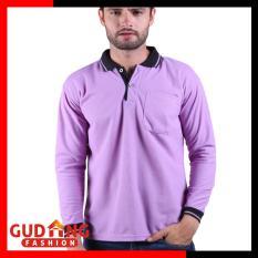 Gudang Fashion - Polo Shirt Casual Panjang - Ungu Muda Kerah Hitam
