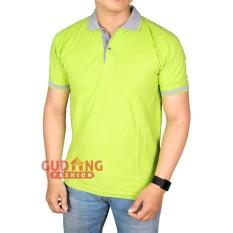 Miliki Segera Gudang Fashion Polo Shirt Laki Laki Hijau Pupus Kerah Abu Muda