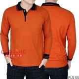 Cuci Gudang Gudang Fashion Polo Shirt Lengan Panjang Merah Bata Kerah Hitam