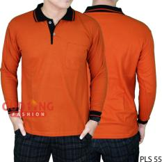 Jual Gudang Fashion Polo Shirt Lengan Panjang Merah Bata Kerah Hitam Di Banten
