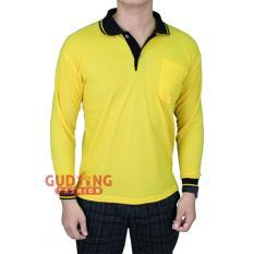 Beli Gudang Fashion Polo Shirt Lengan Panjang Pria Kuning Kenari Kerah Hitam Di Jawa Barat