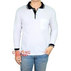 Gudang Fashion - Polo Shirt Panjang Pria - Putih Kerah Hitam