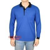 Beli Barang Gudang Fashion Polo Shirt Pria Lengan Panjang Biru Benhur Kerah Hitam Online