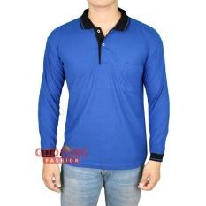 Gudang Fashion - Polo Shirt Pria Lengan Panjang - Biru Benhur Kerah Hitam