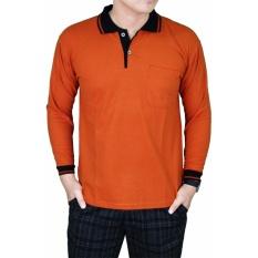 Gudang Fashion - Polo Shirt Pria Lengan Panjang - Merah Bata Kerah Hitam