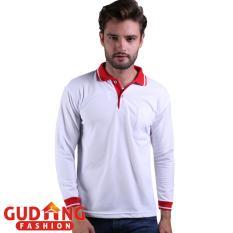 Beli Gudang Fashion Polo Shirt Pria Lengan Panjang Putih Kerah Merah Murah Banten